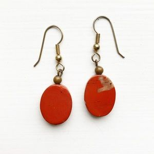 Boho oval red stone drop earrings